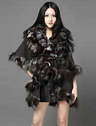meia manga xale de pele de raposa / lã casual / festa casaco