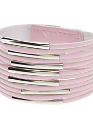 Multilayer Leder Metall Ring Wide Armband (Pink)