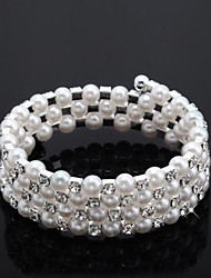 Chic Ladies' Rhinestone Strand/Tennis Bracelet In White Pearl