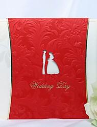 Elegant Embossed Wedding Invitation In Red (Set of 50)