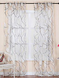 Two Panels Curtain Rococo , Curve Living Room Polyester Material Sheer Curtains Shades Home Decoration For Window