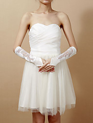 Chic Satin Fingerless Elbow Length Wedding Gloves With Lace