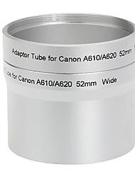 52mm Objektiv und Filter Adapter Tube für Canon A610 A620 Tele Silber