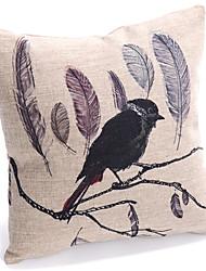 Oiseau solitaire Coton / Lin Coussin décoratif