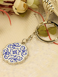 Personalized Exotic Flower Design Keyring Favor