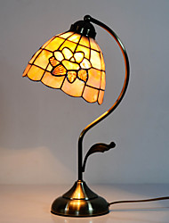 40W Traditional Tiffany Table Light with Floral Stained Glass Shade in Arc Arm Style