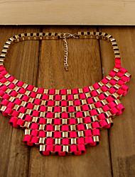 Femmes Vintage géométrique collier de perles vert alliage électrolytique