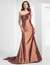 Mermaid / Trumpet One Shoulder Court Train Taffeta Formal Evening Military Ball Dress with Flower(s) Ruffles Criss Cross by TS Couture®