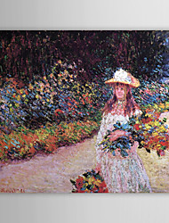 Famous Oil Painting A Young Girl in the Garden at Giverny by Claude Monet