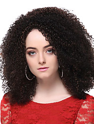 Capless High Quality Synthetic Dark Brown Medium Screw Curly Hair Wigs