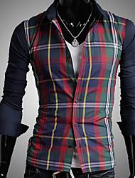 Uomo Slim Colore Contrasto Controllare Camicia a maniche lunghe