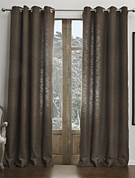 Modern Two Panels Solid Brown Living Room Faux Linen Curtains Drapes