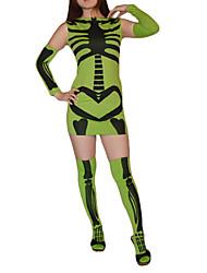 Esqueleto Patrón de lycra vestido verde y Negro