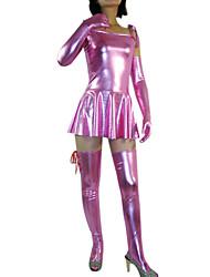 Manica corta corta rosa vestito Shiny Metallic