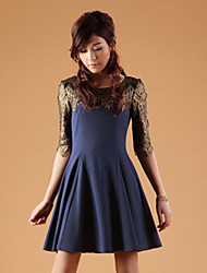 ZHI YUAN Splicing Lace Gather 1/2 Length Sleeve Dress(More Colors)