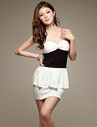 Contraste ÁNGEL volante bodycon vestido de color (blanco)