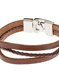Delicate Gecko Pattern Three-deck Leather Bracelet