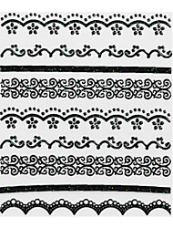 5PCS Black Lace Nail Stickers NO.1 mariage (couleurs assorties)