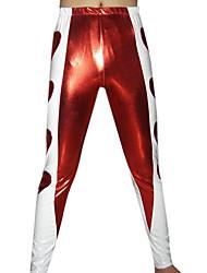 Rojo y blanco pantalones metálicos brillantes
