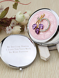 Personalized Floral Chrome Compact Mirror Favor With Rhinestone