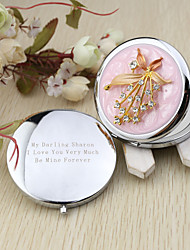 Personalized Rhinestone Flower Chrome Compact Mirror Favor