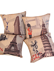 Set of 4 Euro Country Style Cotton/Linen Decorative Pillow Cover