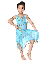 Performance Dancewear Charming Chiffon with Coins Belly Dance Outfit Top and Skirt For Children More Colors