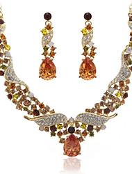 Oro Lega Incredibile E ceco strass gioielli Set tra cui la collana e gli orecchini