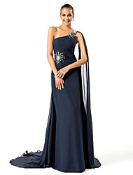 Formal Evening / Military Ball Dress - Plus Size / Petite Sheath/Column One Shoulder Sweep/Brush Train Chiffon