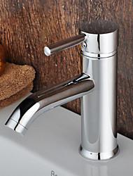 Central contemporánea cromada monomando baño sólida de latón grifo del fregadero