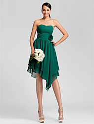 Asymmetrical / Knee-length Chiffon Bridesmaid Dress - Dark Green Plus Sizes / Petite A-line / Princess Strapless