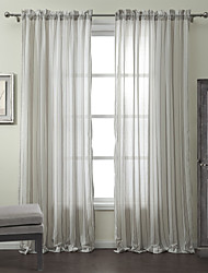Two Panels  Cotton Linen Blend Jacquard Stripe Classic Sheer Curtain