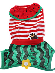 Cute Flowers and Insects Stripe Pattern Cotton Dress for Dogs (Sleeveless)