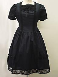 Place de conception de cou court manches courtes en coton noir robe lolita classique