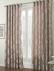 (Two Panels) Contemporary Jacquard Rhombus Lined Curtain
