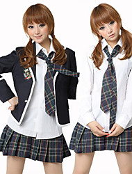 School Girl White Shirt Ink Blue Check Pattern Rock Kostüm (5 Stück)