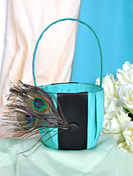 Elegant Flower Basket With Peacock Feather Flower Girl Basket