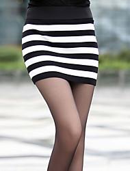 Blanco y Negro de punto elástico a rayas falda cadera del paquete (cintura: los 58-79cm Cadera: los 90-104 Longitud: los 56cm)