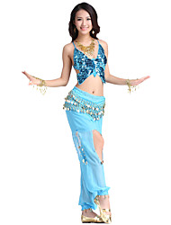 Performance Dancewear Satin and Chiffon Belly Dance Outfit For Ladies More Colors