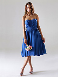 A-Line Princess Strapless Sweetheart Tea Length Chiffon Bridesmaid Dress with Draping Ruching by LAN TING BRIDE®