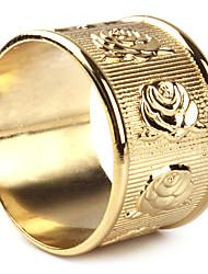 Set of 4 Golden Rose Floral Zinc Alloy Napkin Ring