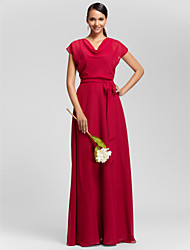 Lanting Bride Floor-length Chiffon Bridesmaid Dress Sheath / Column Cowl Plus Size / Petite with Draping / Sash / Ribbon