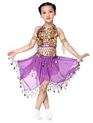 Performance Dancewear Pretty Chiffon with Coins Belly Dance Outfit Top and Skirt For Children More Colors