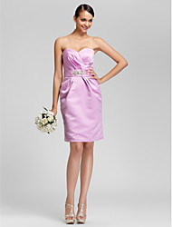 Knee-length Satin Bridesmaid Dress - Lilac Plus Sizes / Petite Sheath/Column Sweetheart / Strapless