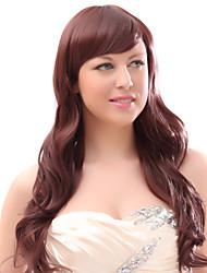 Capless Mixed Hair Red Long Wavy Hair Wigs