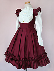 Langarm knielangen Wine Red and White Cotton Classic Lolita Kleid