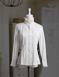 Long Sleeve Stand Collar White Cotton Classic Lolita Blouse