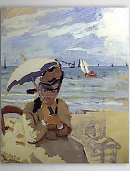 Famous Oil Painting Camille on the Beach at Trouville by Claude Monet