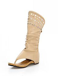 Women's Spring Fall Winter Fashion Boots Leatherette Casual Flat Heel Hollow-out Beige Coffee Tan Beige
