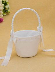White Satin Wedding Flower Basket With Bowknot Flower Girl Basket